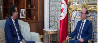 لقاء رئيس الحكومة إلياس الفخفاخ برئيس الجامعة التونسية لشركات التأمين الحبيب بن حسين